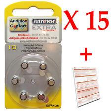 15 plaquettes de 6 piles auditives 10 (jaune) RAYOVAC pour appareils auditifs
