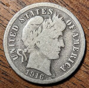 United States 1 Dime 1916 Silver (.900) Coin - Barber