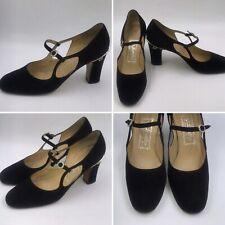 Vintage Les Jumelles Size 6 Black Suede Diamanté Mary Jane Shoes Womens Italian