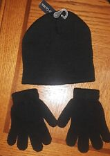 Black Wool Hat/Cap with matching Gloves Youth/Child