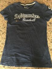 Womans Nike Milwaukee Brewers Baseball Shirt Blouse MLB Short Sleeve Small