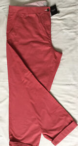 bnwt NEXT COTTON CASUAL SUMMER TROUSERS UK 22 Reg CORAL HIGH RISE ANKLE GRAZERS