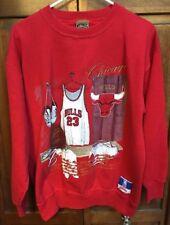 Nutmeg Mills Chicago Bulls NBA CrewNeck SweatShirt Red Embroidered Men L