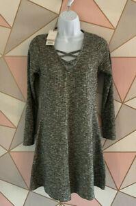 Next Lipsy Grey Long Sleeve Front Cross Knit Dress ~ 6 ~ BNWT ~ RRP £28