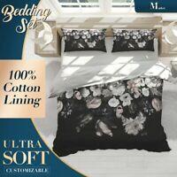 Dutch Flowers Floral Black Dark Quilt Doona Cover Sets Fine Breathable Cotton
