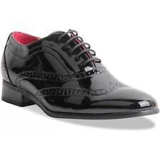 Mens Gentleman Black Patent Spectator Wingtip Brogue Gangster Shoes