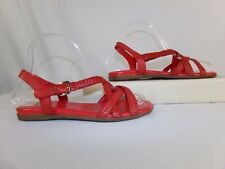 COLE HAAN Womens Red Genuine Leahter Woven Strap Buckle Flat Shoes Sandals 6.5 B