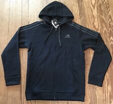 NWT Men's Adidas ESS Cotton Fleece Full Zip 3 Stripe Black Hoodie Sweatshirt S
