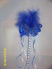 FLOWER GIRL OR BRIDESMAID ROYAL BLUE AND WHITE BUTTERFLY WAND WITH FEATHERS