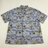 George Button Up Shirt Men's Large Short Sleeve Light Blue Hawaiian Print Rayon