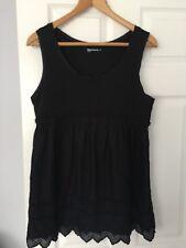GAP WOMENS BLACK MATERNITY MINI DRESS SZ 12-14 UK PUNCHED DESIGN HEM VEST TYPE