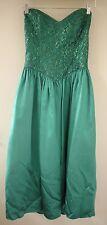 Vtg 80s Jessica McClintock Gunne Sax Mermaid Sweetheart Shiny Lace Prom Dress