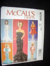 Barbie Doll New McCalls 7520/P608 Pattern 5 Dresses Clothes