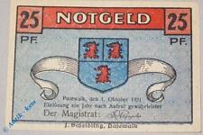 RARE: NOTGELD PASEWALK 25 PF, German Emergency Money, M/G 1049.1, KFR/UNC
