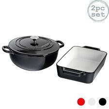 Cast Iron Dutch Oven Casserole Dish & Roasting Dish 4 Litre Black