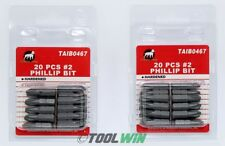"""40pc Phillips #2 Screw Driver Bit Tip 1"""" Drywall 1/4 PH2 Hex Shank Quick Release"""