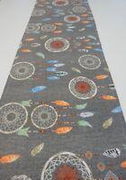 Decorative Table Runner - Dreamcatchers on Grey 150cm x 35cm