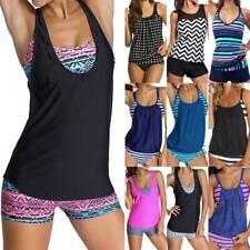 Women Tankini Bikini Set Boy Shorts Summer Beach Swimsuit Bathing Suit Swimwear