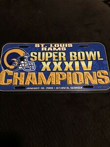 NFL St. Louis Rams 2000 Superbowl XXXIV 34 Champion License Plate