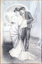 1903 Risque Postcard: Man & Woman Embrace in the Bedroom