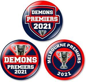 3 x Melbourne 32mm BUTTON PIN BADGES Demons 2021 Premiers Premiership Club Final
