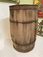 Vintage Wooden Nail Keg Barrel Farm Primitive Rustic Storage wood Basket Decor