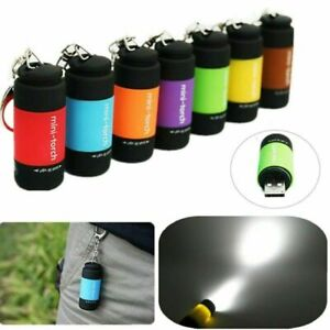 LED Light USB Rechargeable Flashlight Lamp Pocket Keychain Torch Waterproof UK--