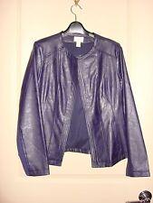 CHICOS Dark Plum Purple Faux Leather w/Sweater Knit Panels Moto Fit Jacket 1 NWT
