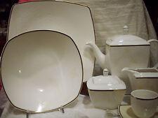 SERVIZIO PIATTI 100 PZ TAVOLA THE CAFFE ROSENBERG QUADRATO MODERNO BONE CHINA