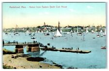 Early 1900s Marblehead, MA, Harbor from Eastern Yacht Clubhouse Postcard