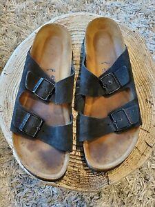 Birkenstock Arizona Black Suede Leather Soft Footbed 43 Men's 10