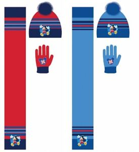 Boys Kids Toddler Disney Mickey Mouse Winter Hat Bobble Gloves Beanie Scarf Set