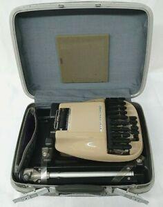 Stenograph Reporter Model Vintage Shorthand Machine W/ Tripod & Samsonite Case