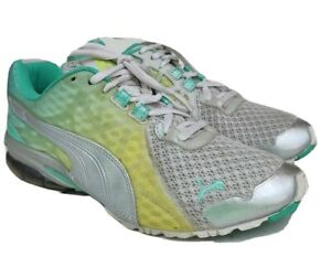 Puma Cell Sport Lifestyle Womens Workout Shoe Size 7.5M Aqua Yellow White Silver