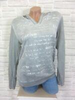 NEU Shirt T-Shirt Tunika Bluse Kapuze Langarm Schrift Print 36 38 40 Grau P217