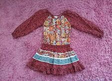 Mimi & Maggie floral Print Crochet Trim Boho Dress Girls 6X