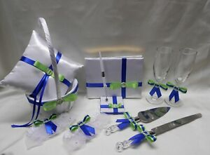 Royal Blue Apple Green Flower Girl Basket Ring Pillow Guest Book Pen Cake Knife