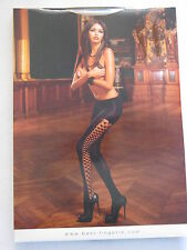 Baci Lingerie Black Opaque Diamond Net Pantyhose ONE SIZE #11
