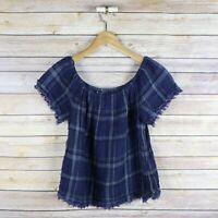 LUCKY BRAND Women's Fringe Trim Short Sleeve Crop Swing Top S Small Blue Plaid