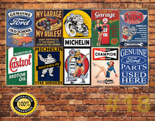 Job Lot 10 x METAL TIN SIGN WALL PLAQUE VINTAGE STYLE GARAGE WORKSHOP  #18