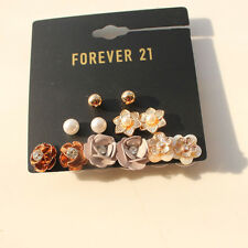 New Forever21 6pairs Rhinestone Shell Flower Stud Earrings Gift FS Jewelry set