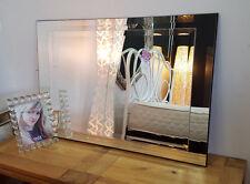SPECCHIO Parete ART DECO moderrn smussato in vetro rettangolare TELAIO NERO 91x61cm