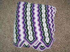 Handmade crochet afghan 60x68 blanket green purple off white