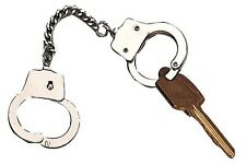 Silver Handcuff Key Ring Chain Hand Cuffs Key Holder Police Security Sheriff New