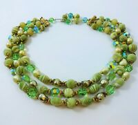 Vintage Green Glass Sugar Beads Necklace Three Strands Faux Pearls Crystals
