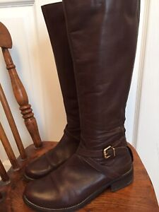 Ladies Clarks Brown Nessa Clare Leather Riding Style Boots UK 4 E Wide