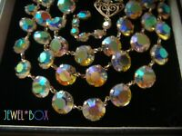 BOXED Vintage TRIPLE STRAND AURORA BOREALIS AUSTRIAN CRYSTAL OPEN BACK NECKLACE