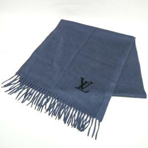 LOUIS VUITTON ECHARPE JEROME Men's Scarf Muffler Stole Cashmere M71288 Gray Blue