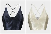 Topshop Bralet Size 4 6 8 10 12 Sateen Crop Top Navy Cream Evening Vest  (A095)