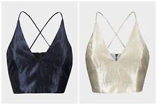 Topshop sparkly Bralet Size 4 6 8 10 12 Sateen Crop Top Navy Cream Xmas Vest  95